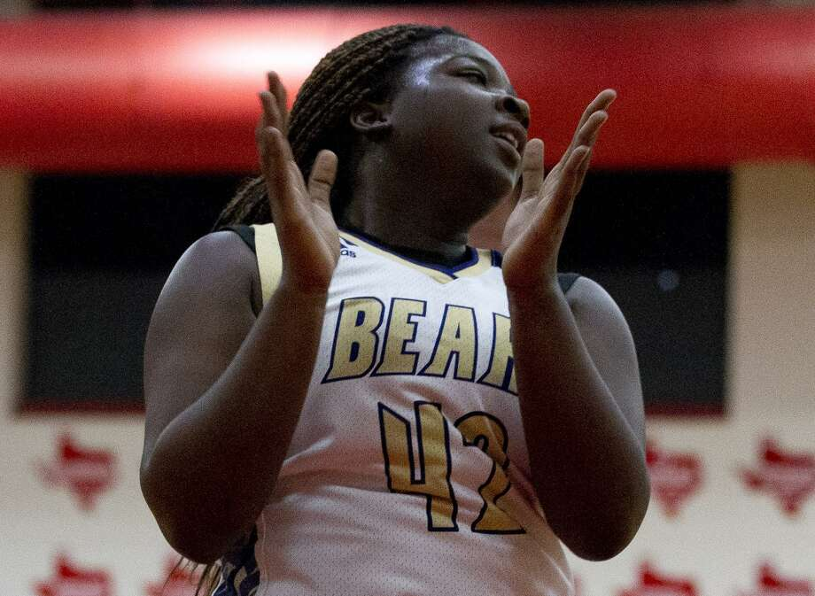 Montgomery center Deshayla Mallard (42) reacts after a foul call in the first quarter of a game duing the Splendora baketball tournament, Saturday, Nov. 17, 2018, in Splendora. Photo: Jason Fochtman, Houston Chronicle / Staff Photographer / © 2018 Houston Chronicle