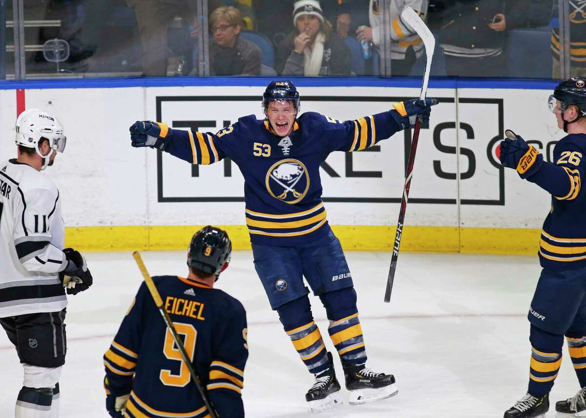 Buffalo Sabres forward Jeff Skinner (53) celebrates his game-winning goal during the overtime period of an NHL hockey game against the Los Angeles Kings, Tuesday, Dec. 11, 2018, in Buffalo N.Y. (AP Photo/Jeffrey T. Barnes)