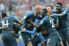 Players of France celebrate the win of the final match between France and Croatia at the FIFA World Cup on July 15, 2018 at the Luzhniki Stadium in Moscow, Russia.
