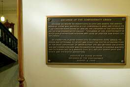 The Children of the Confederacy Creed plaque at the Capitol in Austin last year. A reader calls for the plaques removal because it is historically inaccurate.