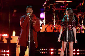 """DeAndre Nico and Reagan Strange, both on Team Adam, during an earlier episode of """"The Voice."""""""