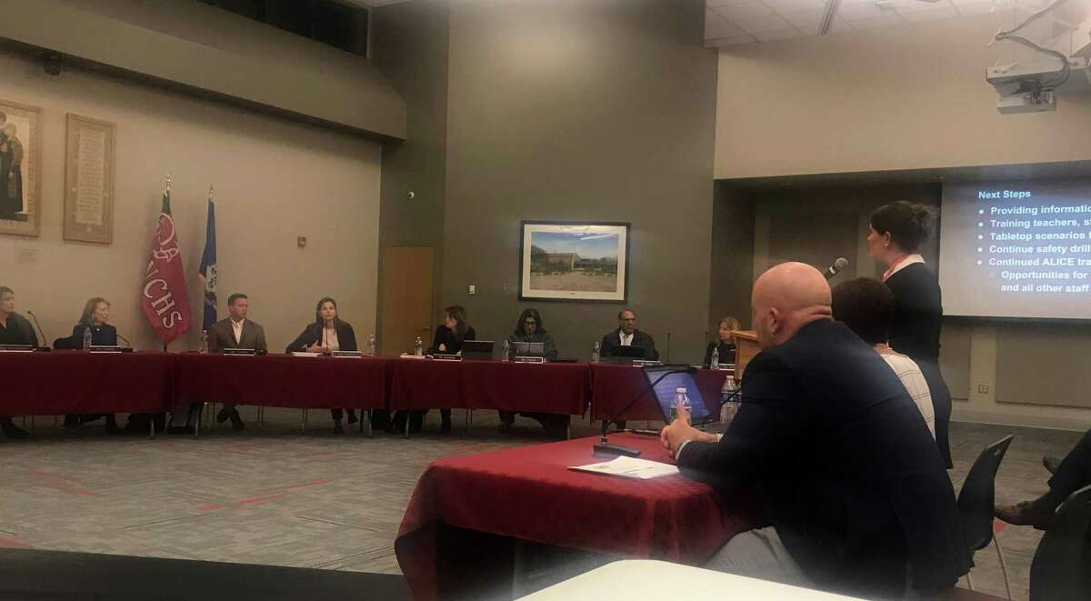 Kristi Carriero with Joanne Rocco and Steve Bedard at the Board of Education meeting on Dec. 3.
