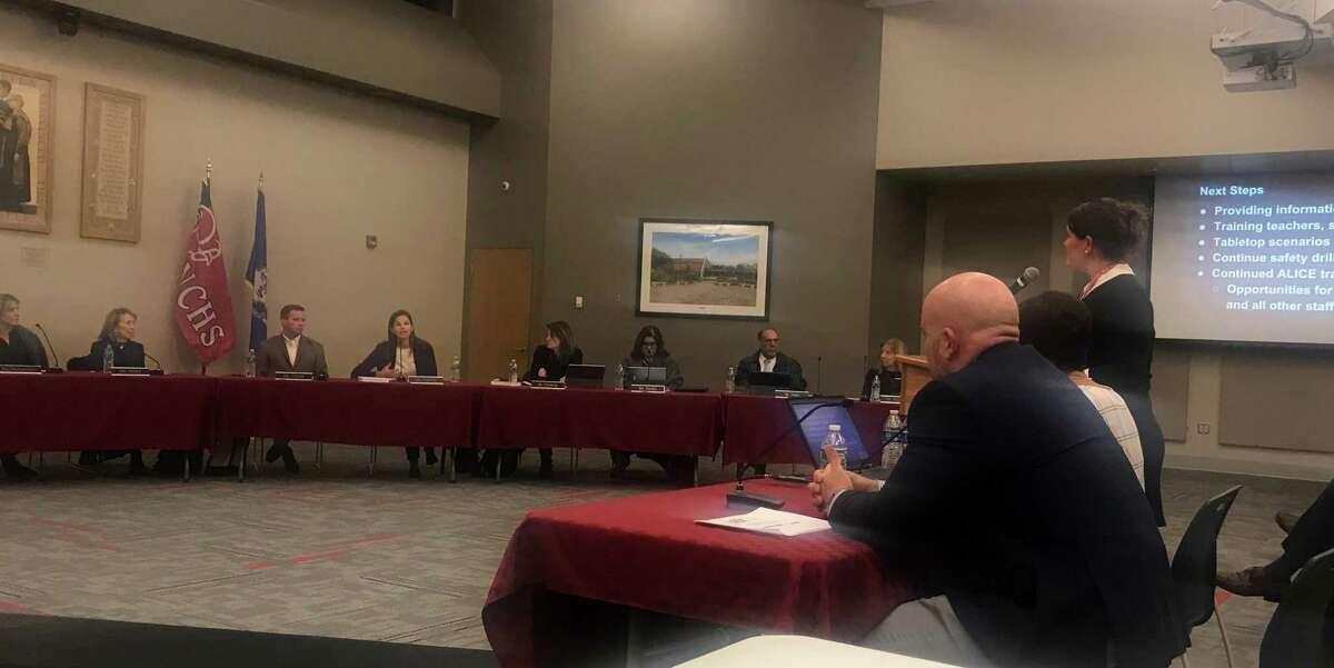Kristi Carriero speaking before the Board of Education. Taken Dec. 3.