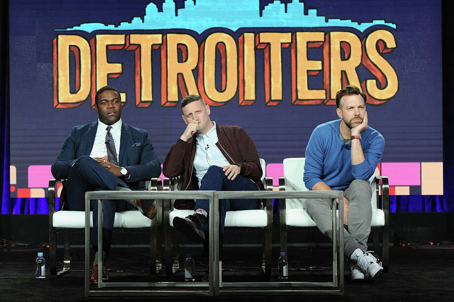 Creators/executive producers/actors Sam Richardson and Tim Robinson and executive producer/actor Jason Sudeikis of the series 'Detroiters' speak onstage during the Comedy Central portion of the Viacom Winter TCA Panels and Party on January 13, 2017 in Pasadena, California. The show was cancelled after two seasons. Photo: Joshua Blanchard / 2017 Getty Images