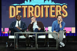 PASADENA, CA - JANUARY 13: (L-R) Creators/executive producers/actors Sam Richardson and Tim Robinson and executive producer/actor Jason Sudeikis of the series 'Detroiters' speak onstage during the Comedy Central portion of the Viacom Winter TCA Panels and Party on January 13, 2017 in Pasadena, California. (Photo by Joshua Blanchard/Getty Images for Viacom)