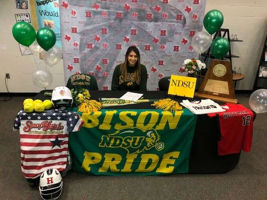 Hargrave's Dez Cardenas signs her Letter of Intent to play softball at North Dakota State University on Dec. 10 at Hargrave High School Photo: Hargrave Softball