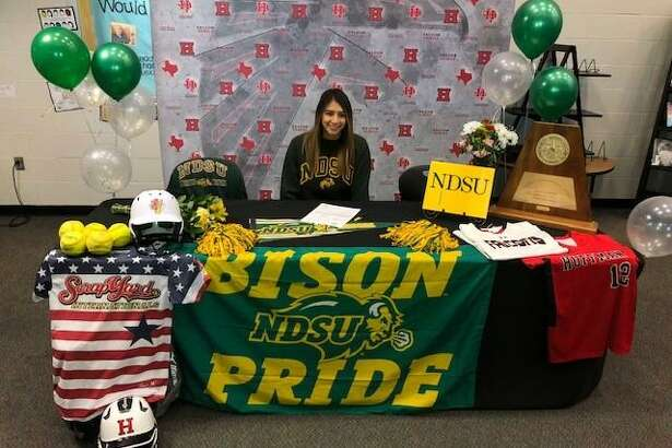 Hargrave's Dez Cardenas signs her Letter of Intent to play softball at North Dakota State University on Dec. 10 at Hargrave High School