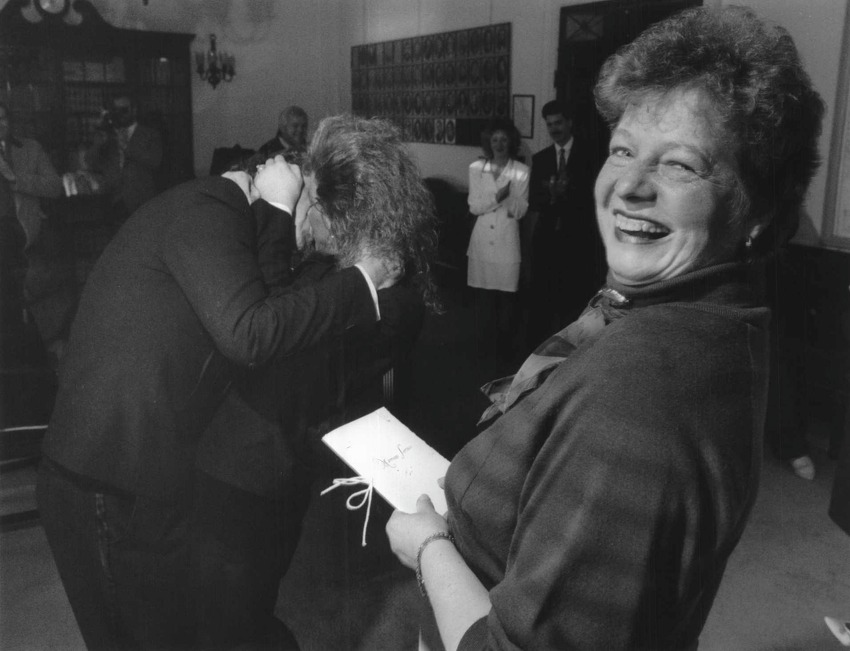 Schenectady, New York - Outgoing Mayor Karen Johnson is all smiles on her last day in office, seen here after marrying Tony C. Delewski and Andrea G. Engel at City Hall Tuesday afternoon. December 31, 1991 (John Carl D'Annibale/Times Union Archive)