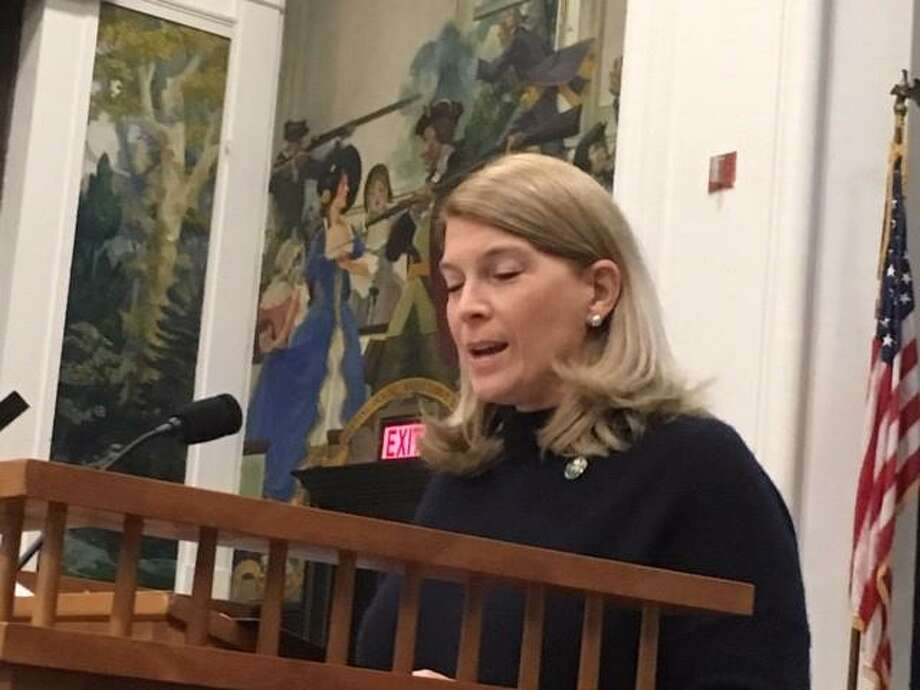Jayme Stevenson speaking at the State of the Town meeting on Dec. 10. Photo: Contributed Photo /Darien TV79