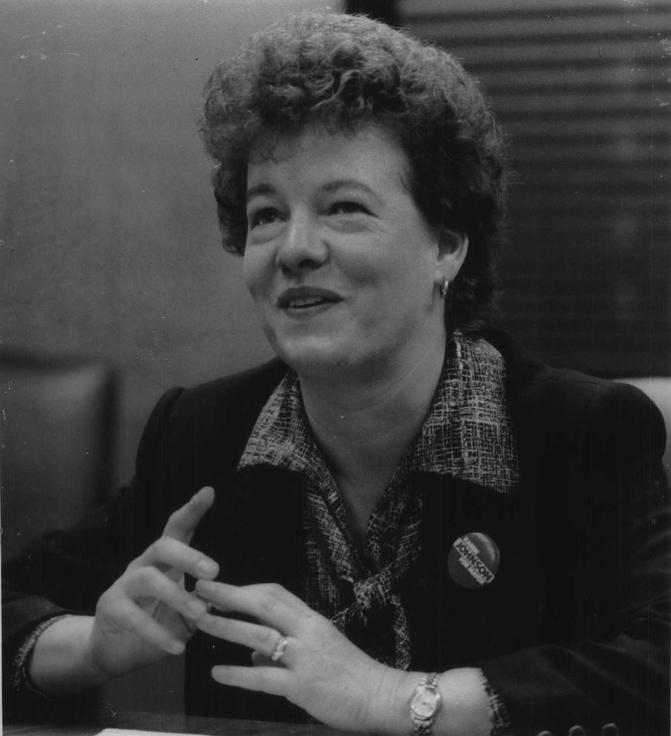 Schenectady Democratic mayoral candidate Karen Johnson at Capital Newspapers in Colonie on October 26, 1983. (Bob Richey/Times Union Archive)