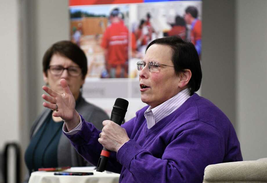 Libby Post, political consultant and president of Communication Services, speaks during the December Women@Work Changemakers breakfast series, presented by Bank of America, on Wednesday, Dec. 12, 2018, at the Hearst Media Center in Colonie, N.Y.  (Will Waldron/Times Union) Photo: Will Waldron, Albany Times Union / 20045705A