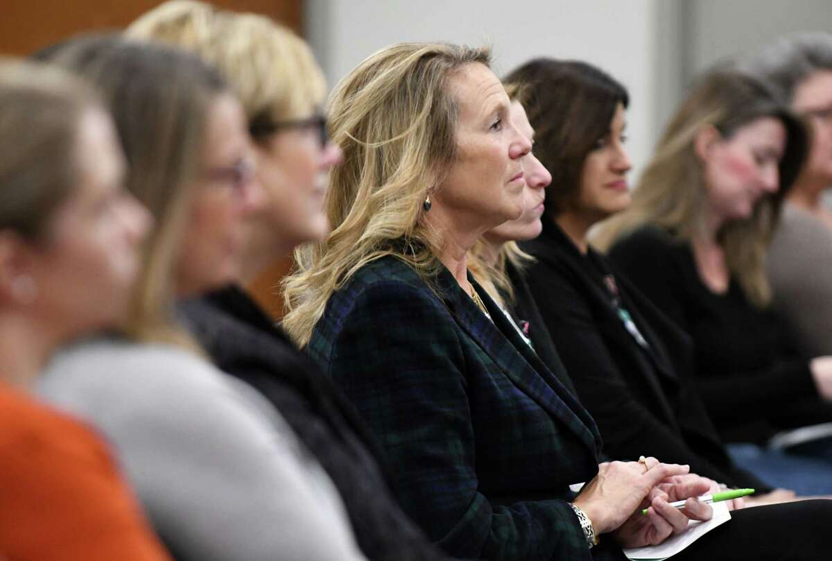 Women@Work Changemakers breakfast series attendees listen to Libby Post, political consultant and president of Communication Services, during the December event, presented by Bank of America, on Wednesday, Dec. 12, 2018, at the Hearst Media Center in Colonie, N.Y. (Will Waldron/Times Union)