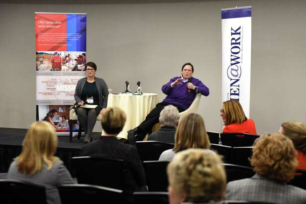 Libby Post, political consultant and president of Communication Services, right, is interviewed by Susan Mehalick of the Times Union, left, during the December Women@Work Changemakers breakfast series, presented by Bank of America, on Wednesday, Dec. 12, 2018, at the Hearst Media Center in Colonie, N.Y. (Will Waldron/Times Union)
