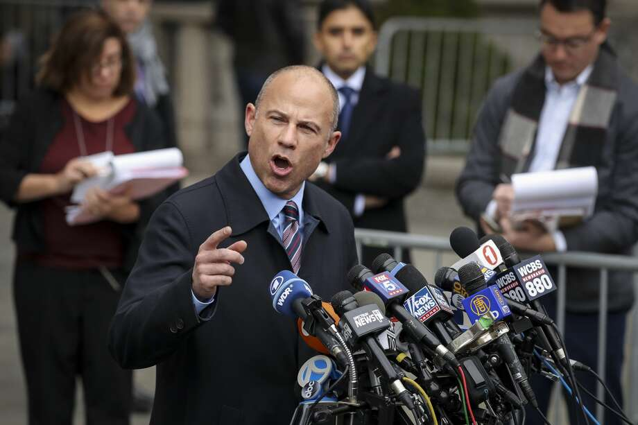 Michael Avenatti, attorney for Stephanie Clifford, also known as adult film actress Stormy Daniels, speaks to the press outside federal court after Michael Cohen's sentencing hearing, December 12, 2018 in New York City. Cohen was sentenced to 3 years in prison after pleading guilty to several charges, including multiple counts of tax evasion, a campaign finance violation and lying to Congress. (Photo by Drew Angerer/Getty Images) Photo: Drew Angerer/Getty Images