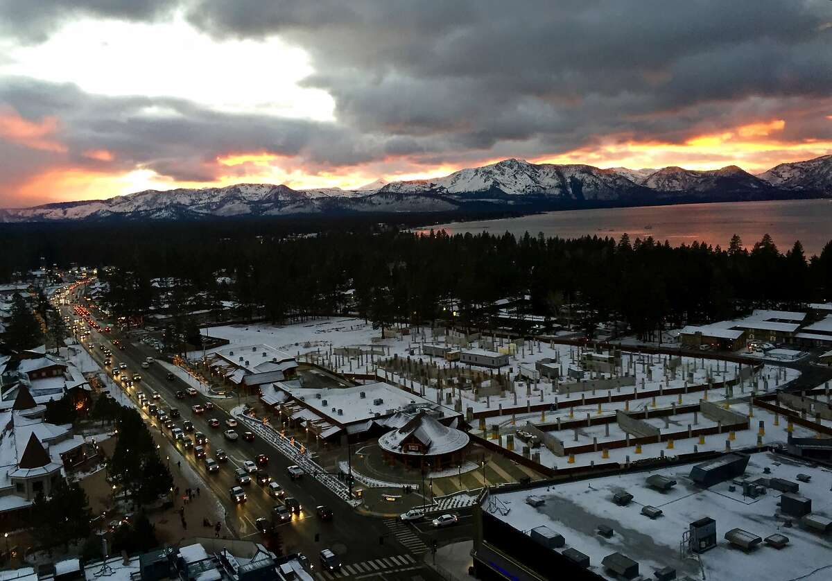 FILE: Cars drive along Highway 50 through South Lake Tahoe.