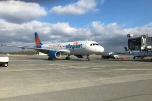 The first flight from ultra-low-fare carrier Allegiant landed at Albany International Airport as the airline begins service from the airport.