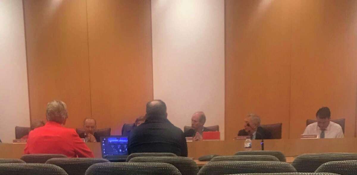 Sandra Dennies and Tiger Mann speaking before the Board of Finance. Taken Dec. 11.