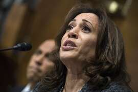 FILE - In this Sept. 27, 2018, file photo, Sen. Kamala Harris, D-Calif., listens to Christine Blasey Ford testify during the Senate Judiciary Committee hearing on the nomination of Brett Kavanaugh to be an associate justice of the Supreme Court in Washington. Democrats are trying to turn their most painful losses this year into a rallying cry they hope will electrify the 2020 presidential campaign: Every vote matters. (Tom Williams/Pool Photo via AP)