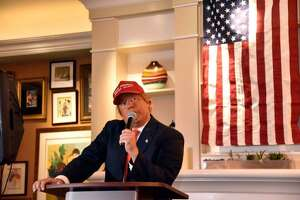 Comedian Bob DiBuono, seen here doing an impression of President Donald Trump, will perform at Stamford's Palace Theatre on Saturday, Dec. 29.