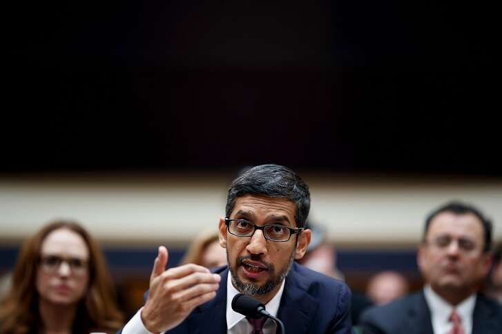 Sundar Pichai, Google's chief executive, testifies before the House Judiciary Committee on Capitol Hill, in Washington, Dec. 11, 2018. Pichai was asked about whether the company's search algorithms are biased against conservatives, as well as its privacy practices and growing market power. (Ting Shen/The New York Times)