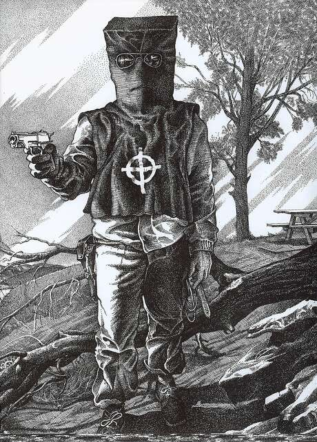 Zodiac in Costume at Lake Berryessa, drawing by former Chronicle cartoonist Robert Graysmith.  Surviving victim Bryan Hartnell personally described the costume in detail to Graysmith, after his, and Cecilia Shepherd's,  encounter with the Zodiac September 27, 1969. Photo: Courtesy Of Robert Graysmith 1969