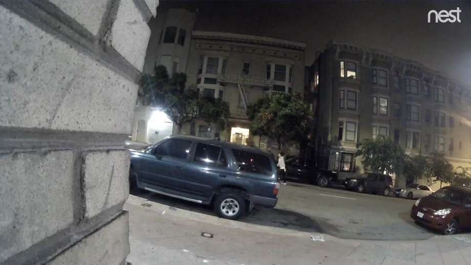 The San Francisco Police Department has released this video of an alleged hit-and-run driver (in grey sweat shirt) on Wednesday, Dec. 12, 2018.  A 58-year-old woman was struck and killed while crossing the street around 3:25 a.m. at the intersection of Bush and Leavenworth streets. Photo: Via SFPD