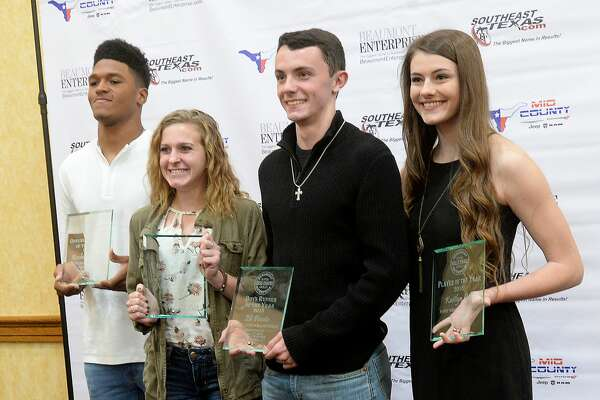 Players of the year, including (from left) football offensive MVP Roschon Johnson of Port Neches-Groves, Maddison Helm of Ornagefield cross country, Eli Pevete of Little Cypress-Mauriceville cross country, and Kaitlyn Gil of Port Neches-Groves volleyball, gather together for a photo after receiving their honors during the fall Super Gold award ceremony, honoring star athletes at the MCM Elegante Hotel Tuesday night. (Not pictured is defensive football MVP Jadrian McGraw of Newton) The event is sponsored by Mid County Chrysler Dodge Jeep Ram. Photo taken Tuesday, December 11, 2018 Kim Brent/The Enterprise