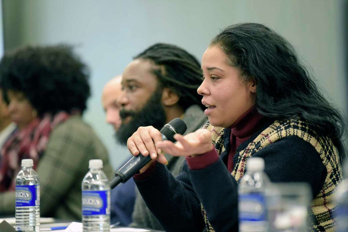 Lauren Manning with the Center for Law and Justice in Albany, takes part in the panel discussion on Reparative Justice and Reparations at the Marijuana Justice Equity Reinvestment conference at the Albany Capital Center on Wednesday, Dec. 12, 2018, in Albany, N.Y. (Paul Buckowski/Times Union)