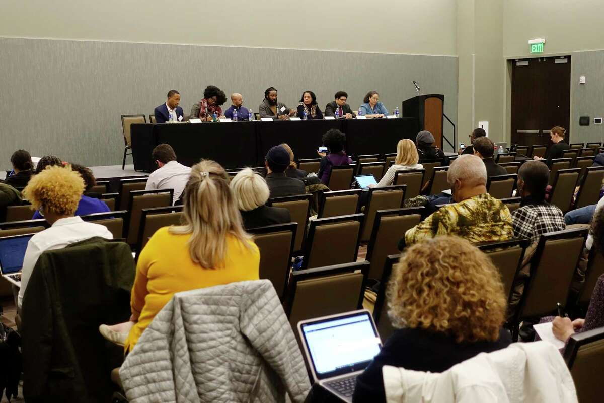 Policy and community advocates take part in the panel discussion on Reparative Justice and Reparations at the Marijuana Justice Equity Reinvestment conference at the Albany Capital Center on Wednesday, Dec. 12, 2018, in Albany, N.Y. (Paul Buckowski/Times Union)