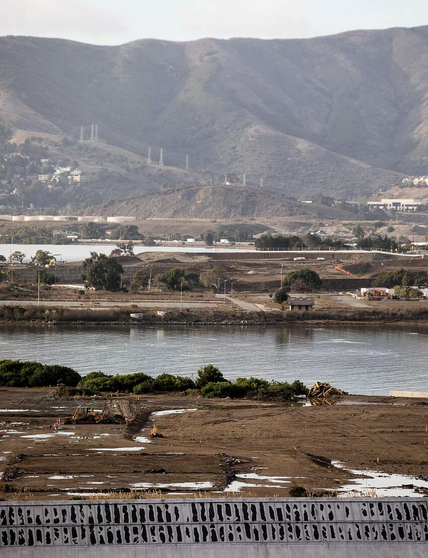 A portion of a toxic landfill near Parcel A is cordoned off at the former naval shipyard.