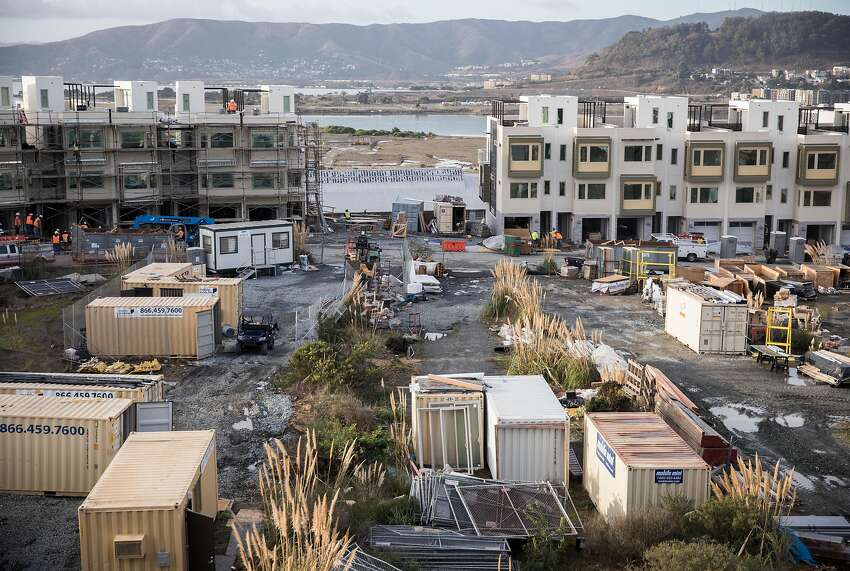 Construction continues on homes located on Parcel A at the Hunters Point Naval Shipyard in the Hunters Point neighborhood of San Francisco, Calif. Wednesday, Nov. 28, 2018.
