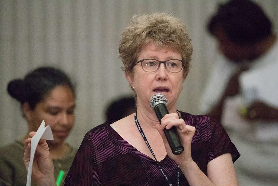 Amy Brownell, of the San Francisco Department of Public Health, speaks at a community meeting about the Shipyard and pollution in the Bayview. on Wednesday, Aug. 15, 2018, in San Francisco, CA. Photo: Paul Kuroda / Special To The Chronicle