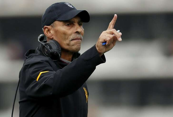 FILE - In this Oct. 6, 2018, file photo, Arizona State head coach Herm Edwards gestures during the first half of an NCAA college football game in Boulder, Colo. Arizona State heads to Oregon this weekend needing a win to stay alive in the Pac-12 South. (AP Photo/David Zalubowski, File)