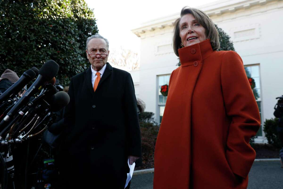 House Minority Leader Nancy Pelosi, D-Calif., speaks with members of the media with Senate Minority Leader Chuck Schumer, D-N.Y., at the White House on Tuesday.