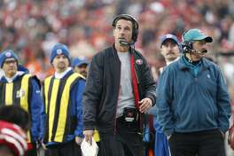 San Francisco 49ers head coach Kyle Shanahan on the sidelines during the second half of an NFL football game against the Denver Broncos Sunday, Dec. 9, 2018, in Santa Clara, Calif. (AP Photo/Josie Lepe)