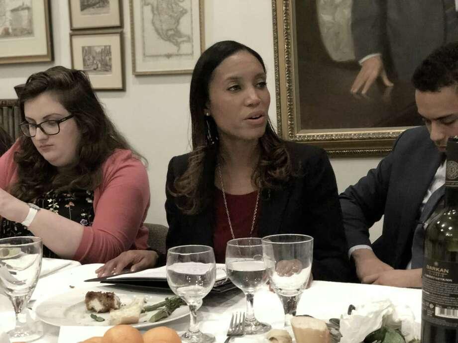 Attorney Kristen  Feden at Shabtai, a Jewish society at Yale, Tuesday . Photo: Ben Lambert / Hearst Connecticut Media /