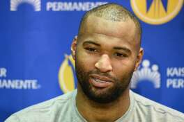 Golden State Warriors' DeMarcus Cousins answers questions from the media after practice at Kaiser Permanente Arena in Santa Cruz Wednesday December 12, 2018.