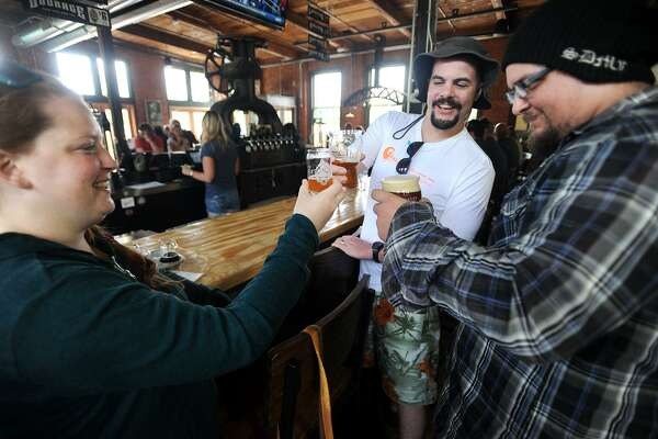 Customers enjoy some beer at Bad Sons in Derby.