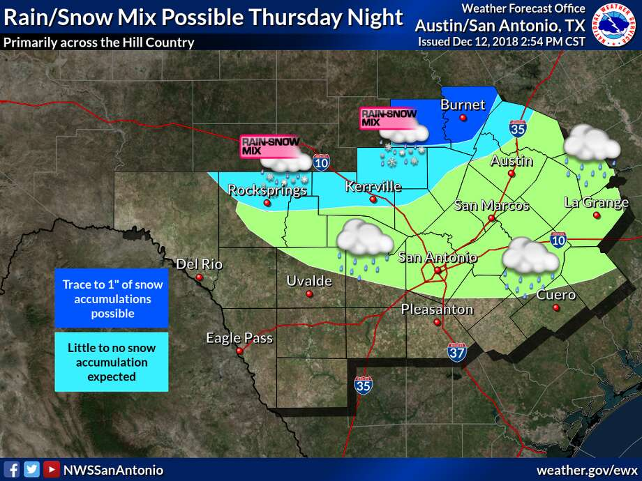 The National Weather Service is expecting snow north of San Antonio and windy weather throughout the region on Thursday, Dec. 13, 2018. Photo: National Weather Service