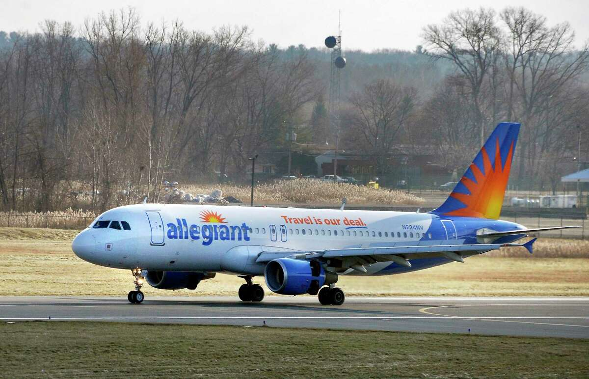An Allegiant Air jetliner lands at Albany International Airport Wednesday Dec. 12, 2018 in Colonie, NY. Allegiant on Tuesday announced it would begin twice weekly flights between Albany and Nashville on May 14, with one-way fares starting at $49. (John Carl D'Annibale/Times Union)