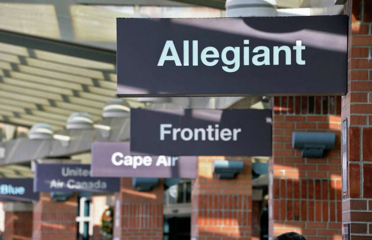 Allegiant Air sign outside the terminal as they begin serving Albany International Airport Wednesday Dec. 12, 2018 in Colonie, NY. (John Carl D'Annibale/Times Union)