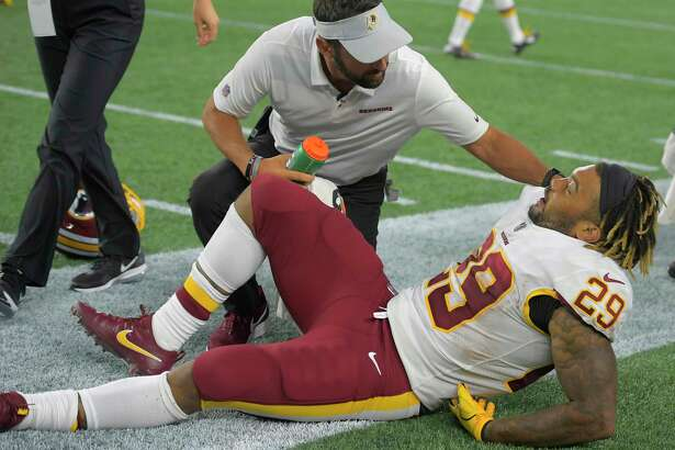Redskins rookie running back Derrius Guice hopes to be ready to participate in organized team activities after surgery in August to repair a torn ACL.
