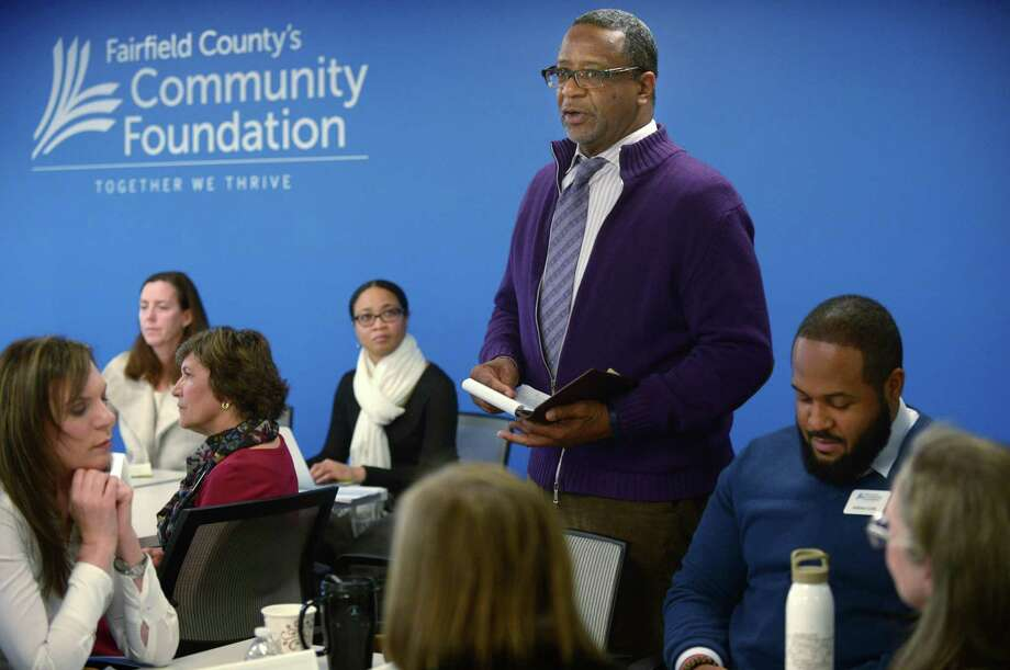 Val Guilford, Vice President of Workforce Development and outh Programs, speaks about his groups discussion on Community and Civi Engagement as the Fairfield County Community Foundation hosts a legislative forum Wednesday, December 11, 2018, that includes legislative and nonprofit leaders at the Foundation offices in Norwalk, Conn. The event focuses on strengthening nonprofit organizations' relationships with state and local elected officials. Photo: Erik Trautmann / Hearst Connecticut Media / Norwalk Hour