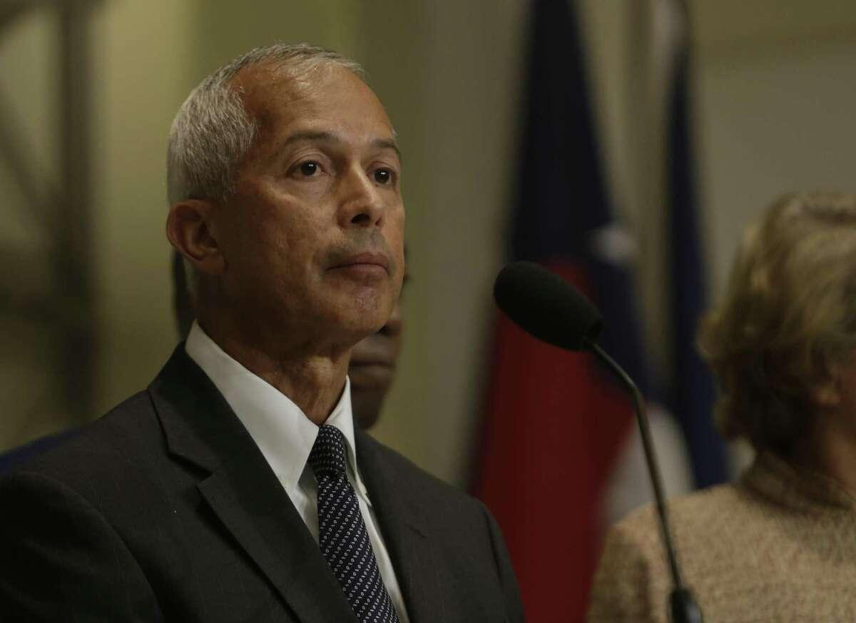 Mario Diaz, director of aviation at George Bush Intercontinental Airport, takes a question from a reporter about the status of people who were held at the airport after President Trump issued his executive order on immigration, during a press conference at City Hall, Monday, Jan. 30, 2017, in Houston. ( Mark Mulligan / Houston Chronicle )