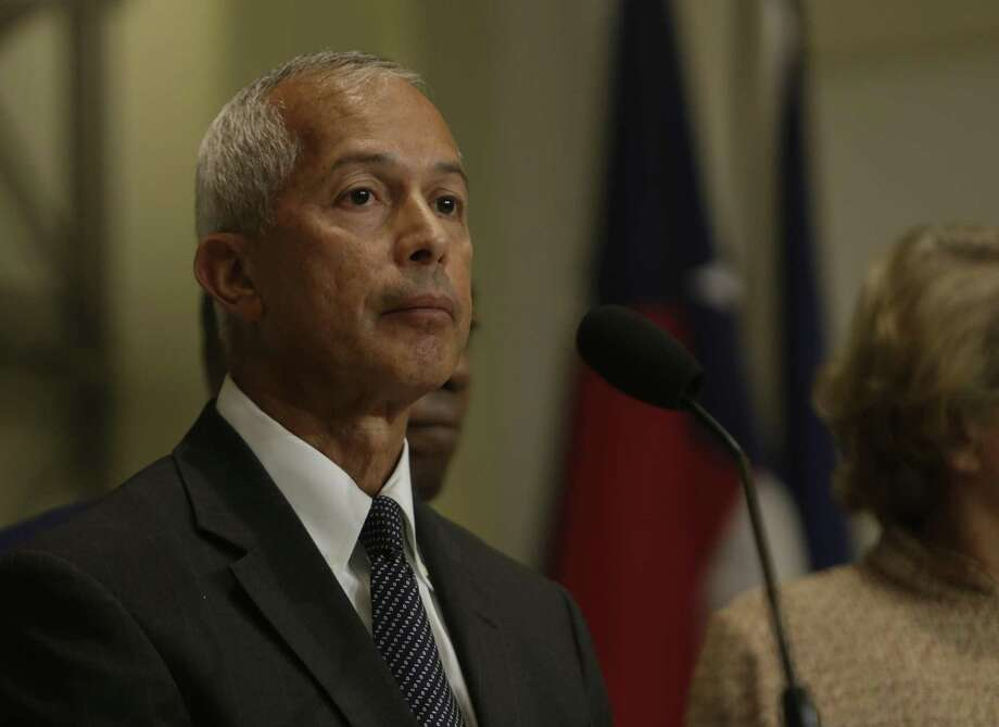 Mario Diaz, director of aviation at George Bush Intercontinental Airport, takes a question from a reporter about the status of people who were held at the airport after President Trump issued his executive order on immigration, during a press conference at City Hall, Monday, Jan. 30, 2017, in Houston. ( Mark Mulligan / Houston Chronicle ) Photo: Mark Mulligan, Staff / Houston Chronicle / © 2017 Houston Chronicle