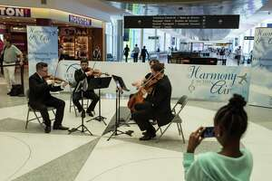 "Divisi Strings performs at Hobby Airport for the ""Harmony in the Air"" program in 2015."