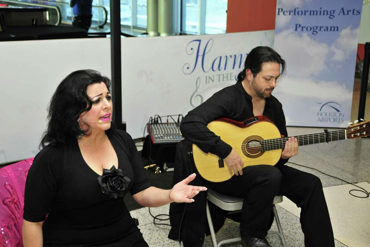 """Soloro Flamenco performs at Hobby Airport for the Houston Airport System's """"Harmony in the Air"""" program in 2015."""