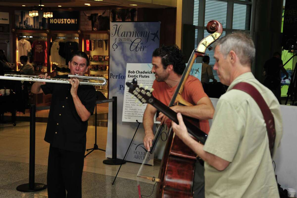 """The Bob Chadwick Jazz Trio performs at Hobby Airport for the Houston Airport System's """"Harmony in the Air"""" program in 2015."""