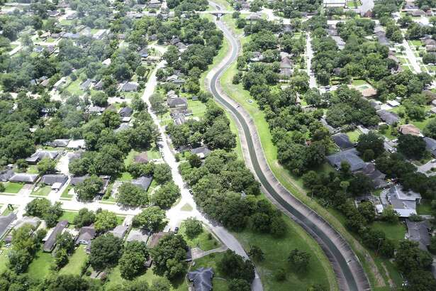 Neighborhoods around the Carpenter Bayou on the near Channelview, Texas in July 2018.