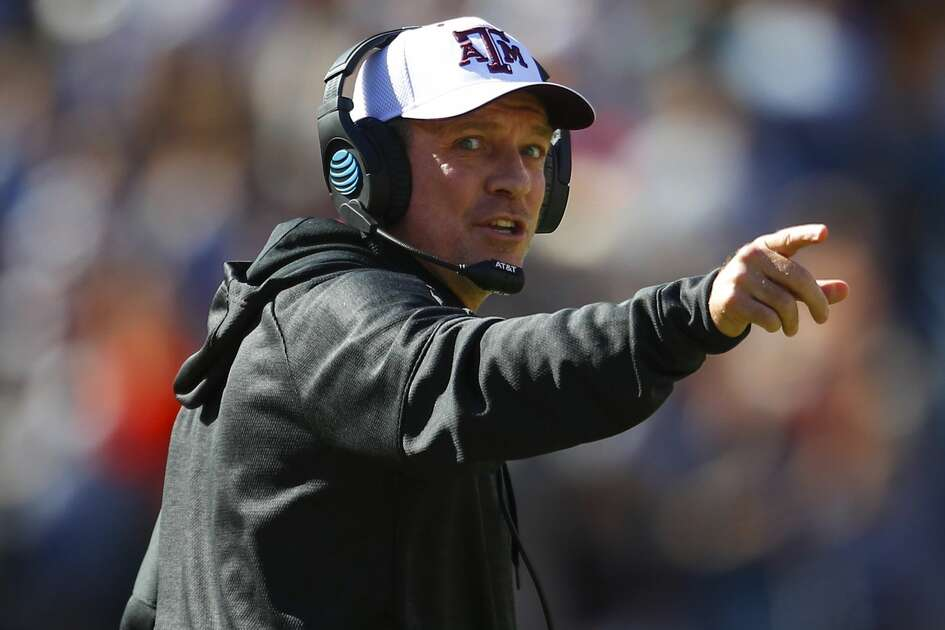 Texas A&M head coach Jimbo Fisher reacts against Auburn during the first half of an NCAA college football game, Saturday, Nov. 3, 2018, in Auburn, Ala. (AP Photo/Todd Kirkland)